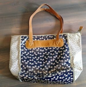 Fossil love bird print navy vinyl and leather tote